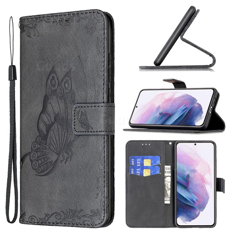 Binfen Color Imprint Vivid Butterfly Leather Wallet Case for Samsung Galaxy S21 Plus - Black