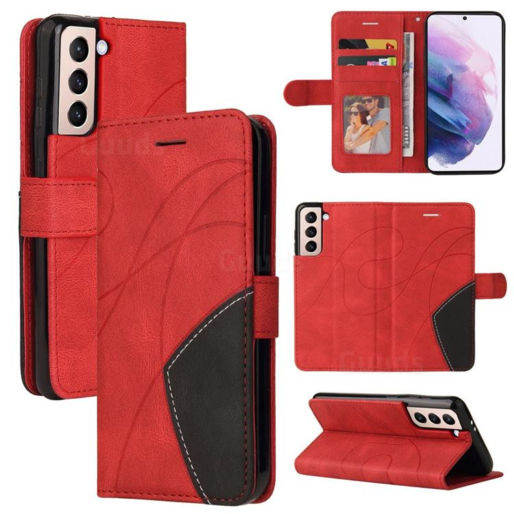 Luxury Two-color Stitching Leather Wallet Case Cover for Samsung Galaxy S21 Plus - Red