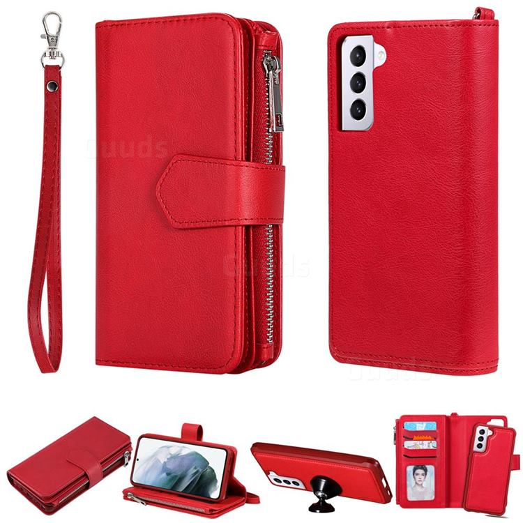 Retro Luxury Multifunction Zipper Leather Phone Wallet for Samsung Galaxy S21 Plus - Red