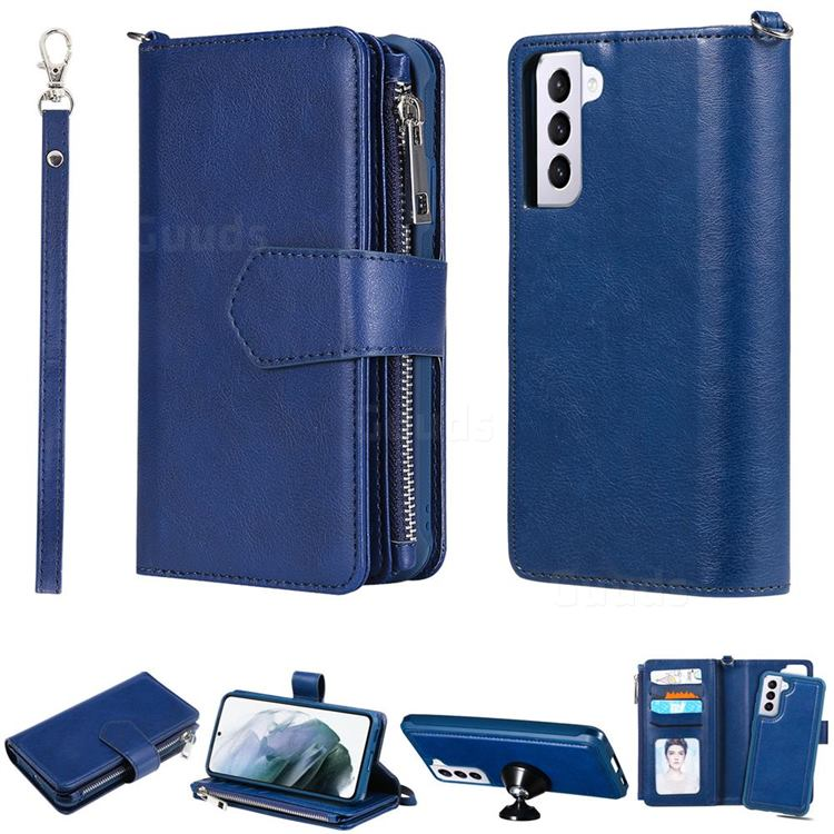 Retro Luxury Multifunction Zipper Leather Phone Wallet for Samsung Galaxy S21 Plus - Blue