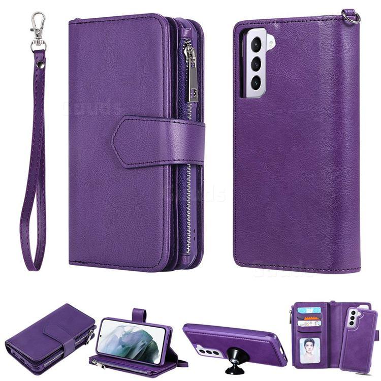 Retro Luxury Multifunction Zipper Leather Phone Wallet for Samsung Galaxy S21 Plus - Purple