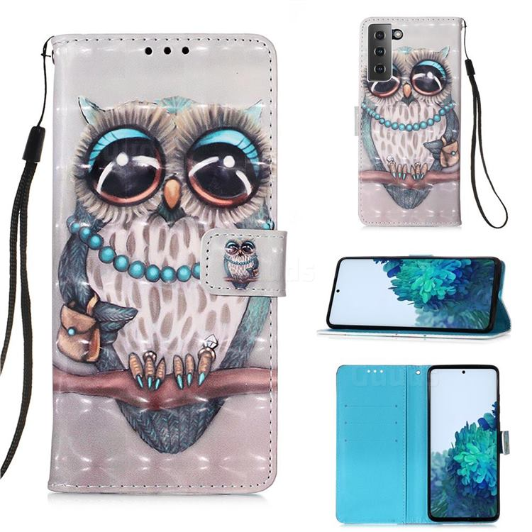Sweet Gray Owl 3D Painted Leather Wallet Case for Samsung Galaxy S21 Plus