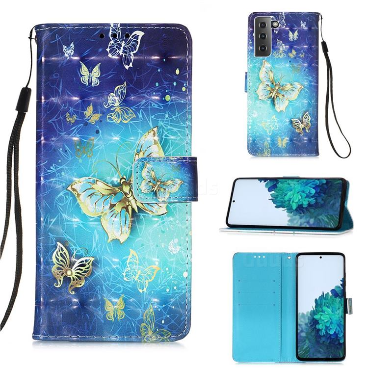 Gold Butterfly 3D Painted Leather Wallet Case for Samsung Galaxy S21 Plus