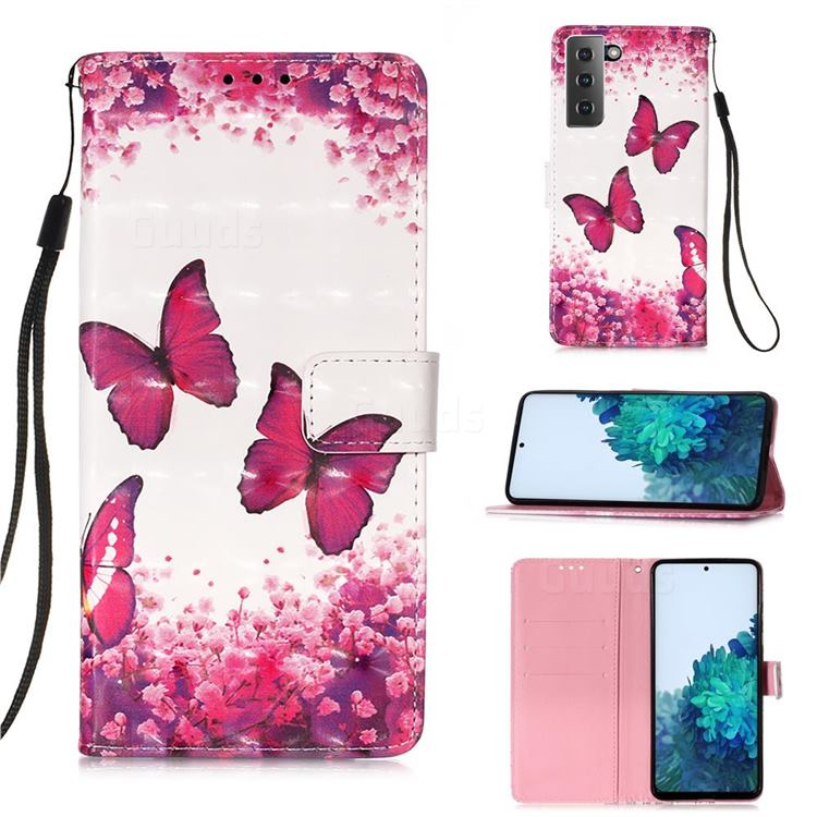 Rose Butterfly 3D Painted Leather Wallet Case for Samsung Galaxy S21 Plus