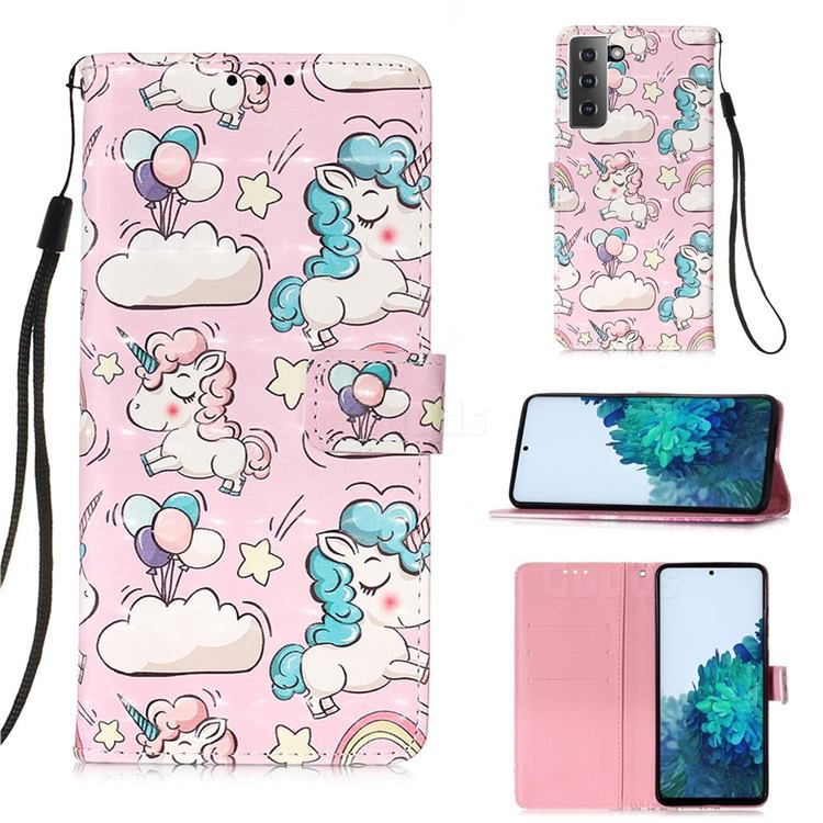 Angel Pony 3D Painted Leather Wallet Case for Samsung Galaxy S21 Plus