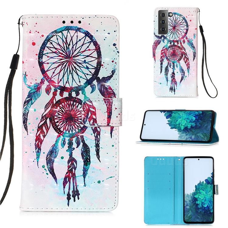 ColorDrops Wind Chimes 3D Painted Leather Wallet Case for Samsung Galaxy S21 Plus