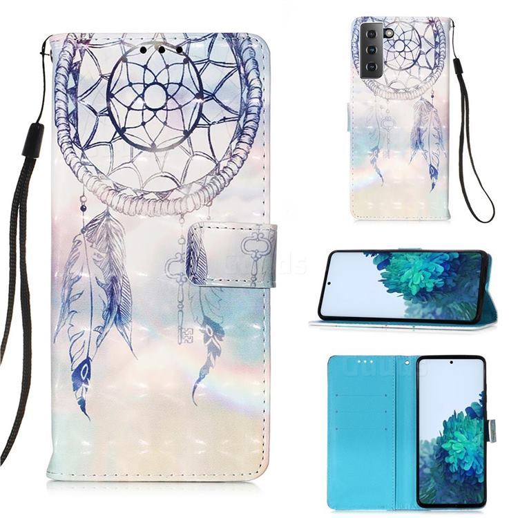 Fantasy Campanula 3D Painted Leather Wallet Case for Samsung Galaxy S21 Plus