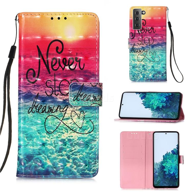 Colorful Dream Catcher 3D Painted Leather Wallet Case for Samsung Galaxy S21 Plus