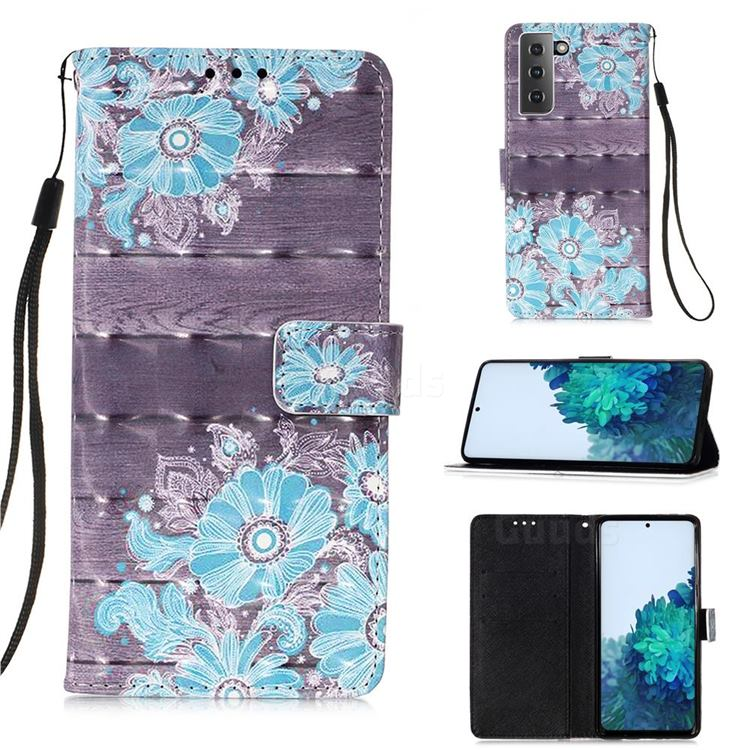 Blue Flower 3D Painted Leather Wallet Case for Samsung Galaxy S21 Plus