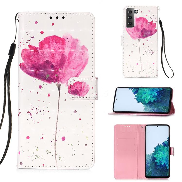 Watercolor 3D Painted Leather Wallet Case for Samsung Galaxy S21 Plus