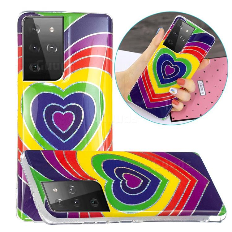 Rainbow Heart Painted Galvanized Electroplating Soft Phone Case Cover for Samsung Galaxy S21 Ultra / S30 Ultra