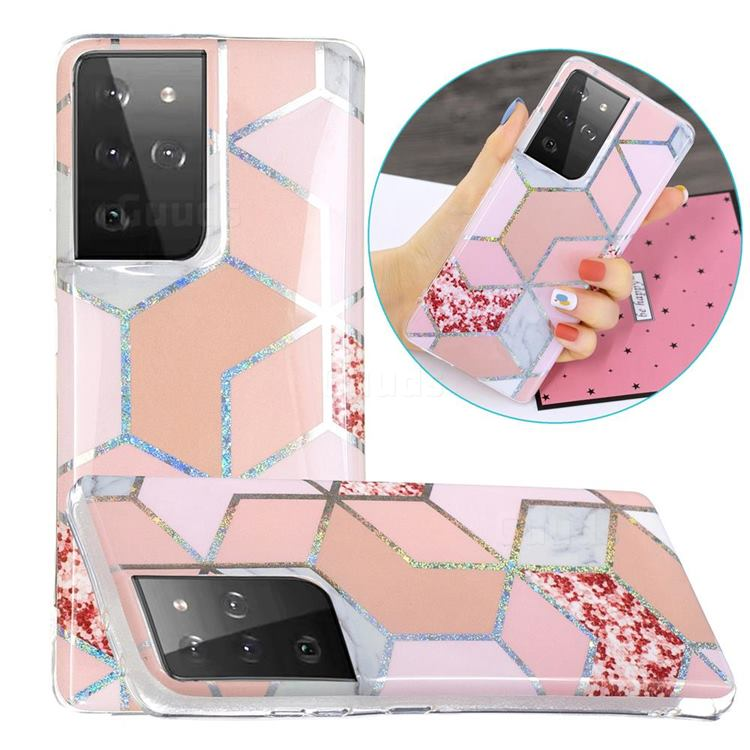 Pink Marble Painted Galvanized Electroplating Soft Phone Case Cover for Samsung Galaxy S21 Ultra / S30 Ultra