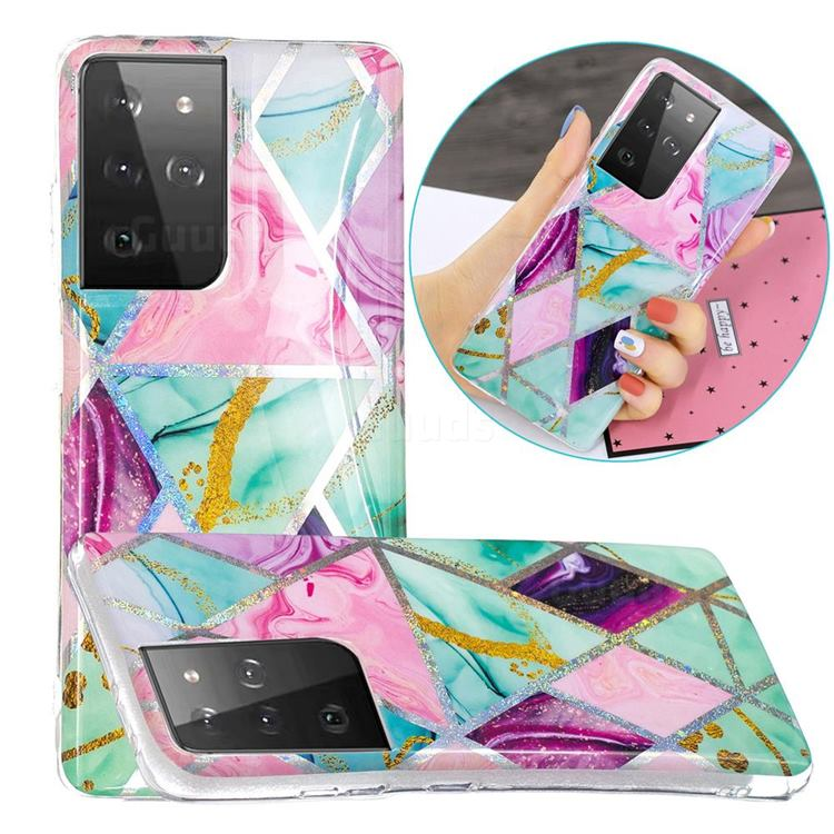 Triangular Marble Painted Galvanized Electroplating Soft Phone Case Cover for Samsung Galaxy S21 Ultra / S30 Ultra