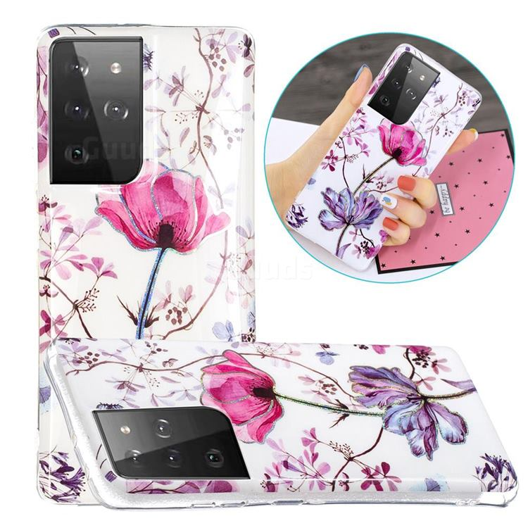 Magnolia Painted Galvanized Electroplating Soft Phone Case Cover for Samsung Galaxy S21 Ultra / S30 Ultra