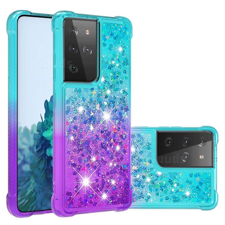 Rainbow Gradient Liquid Glitter Quicksand Sequins Phone Case for Samsung Galaxy S21 Ultra - Blue Purple