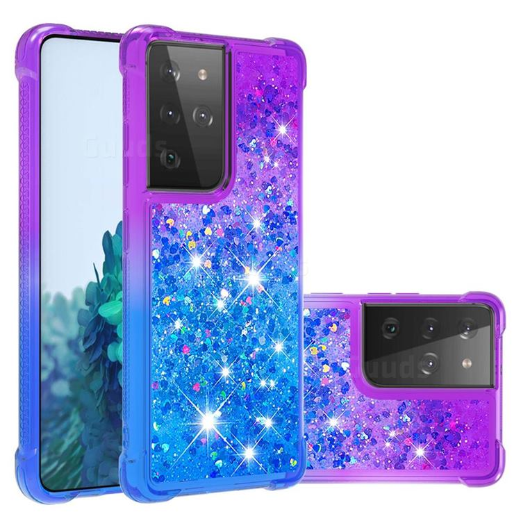 Rainbow Gradient Liquid Glitter Quicksand Sequins Phone Case for Samsung Galaxy S21 Ultra - Purple Blue