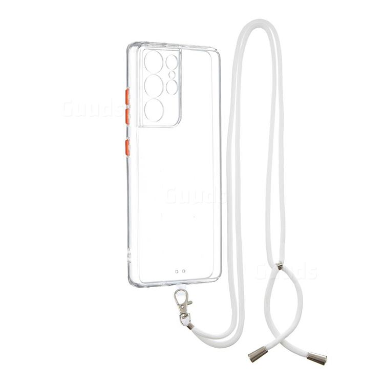 Necklace Cross-body Lanyard Strap Cord Phone Case Cover for Samsung Galaxy S21 Ultra - Transparent
