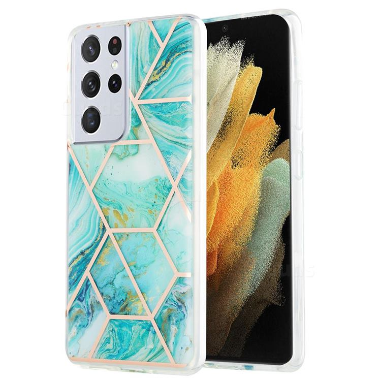 Blue Sea Marble Pattern Galvanized Electroplating Protective Case Cover for Samsung Galaxy S21 Ultra