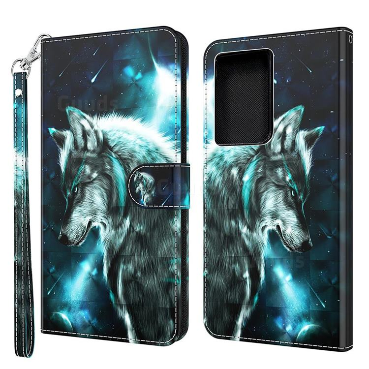 Snow Wolf 3D Painted Leather Wallet Case for Samsung Galaxy S30 Ultra / S21 Ultra