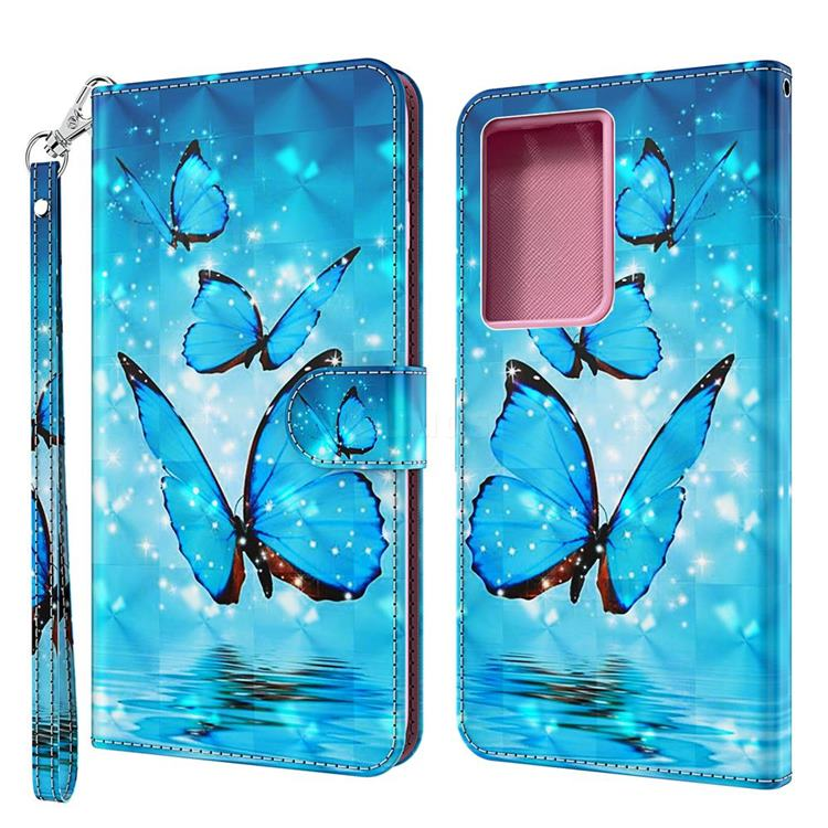 Blue Sea Butterflies 3D Painted Leather Wallet Case for Samsung Galaxy S30 Ultra / S21 Ultra