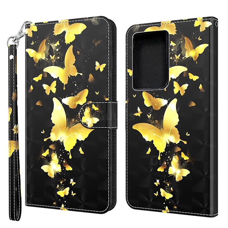 Golden Butterfly 3D Painted Leather Wallet Case for Samsung Galaxy S30 Ultra / S21 Ultra
