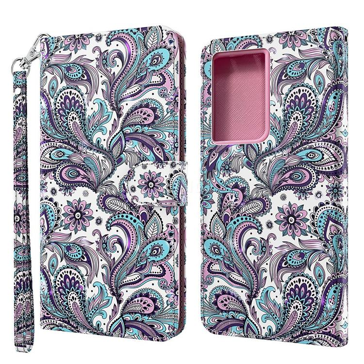 Swirl Flower 3D Painted Leather Wallet Case for Samsung Galaxy S30 Ultra / S21 Ultra