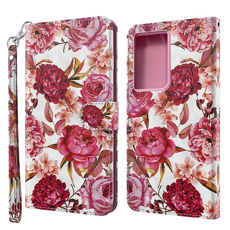 Red Flower 3D Painted Leather Wallet Case for Samsung Galaxy S21 Ultra / S30 Ultra