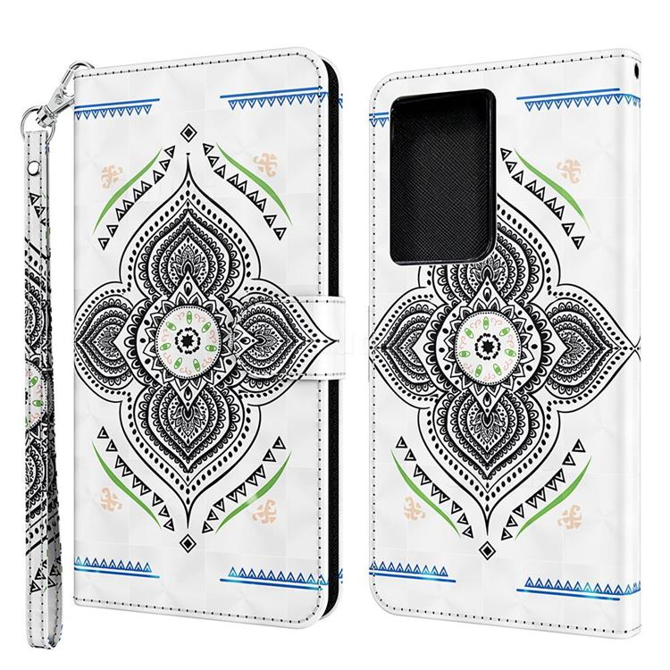 Mandala Totem 3D Painted Leather Wallet Case for Samsung Galaxy S30 Ultra / S21 Ultra
