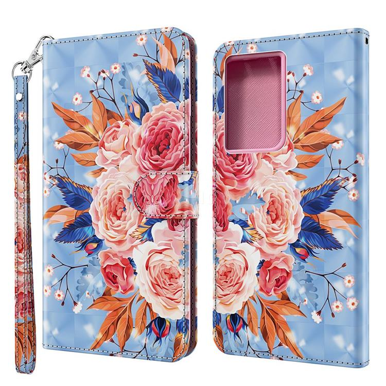 Rose Flower 3D Painted Leather Wallet Case for Samsung Galaxy S30 Ultra / S21 Ultra