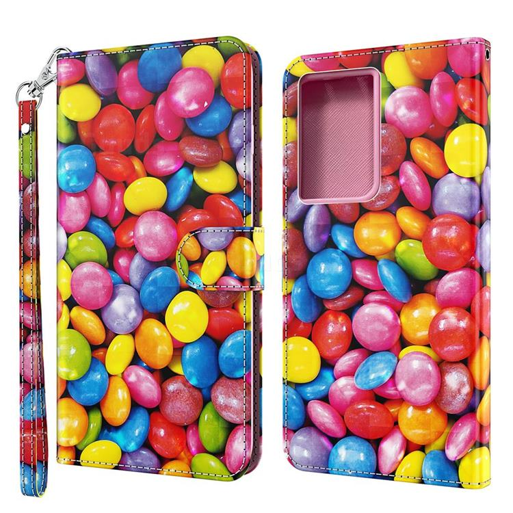 Colorful Jelly Beans 3D Painted Leather Wallet Case for Samsung Galaxy S30 Ultra / S21 Ultra
