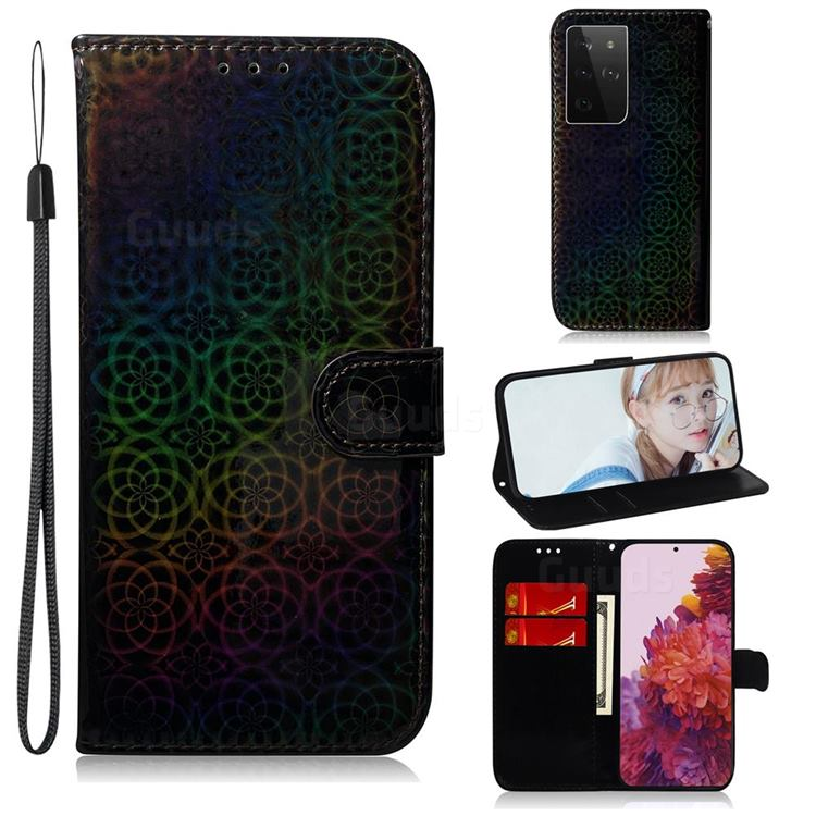 Laser Circle Shining Leather Wallet Phone Case for Samsung Galaxy S21 Ultra / S30 Ultra - Black