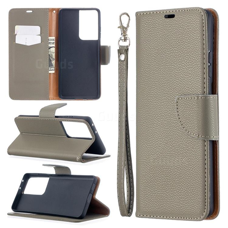 Classic Luxury Litchi Leather Phone Wallet Case for Samsung Galaxy S21 Ultra / S30 Ultra - Gray