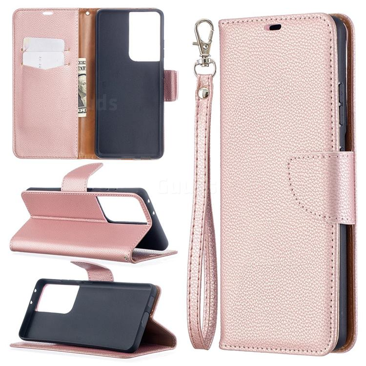Classic Luxury Litchi Leather Phone Wallet Case for Samsung Galaxy S21 Ultra / S30 Ultra - Golden