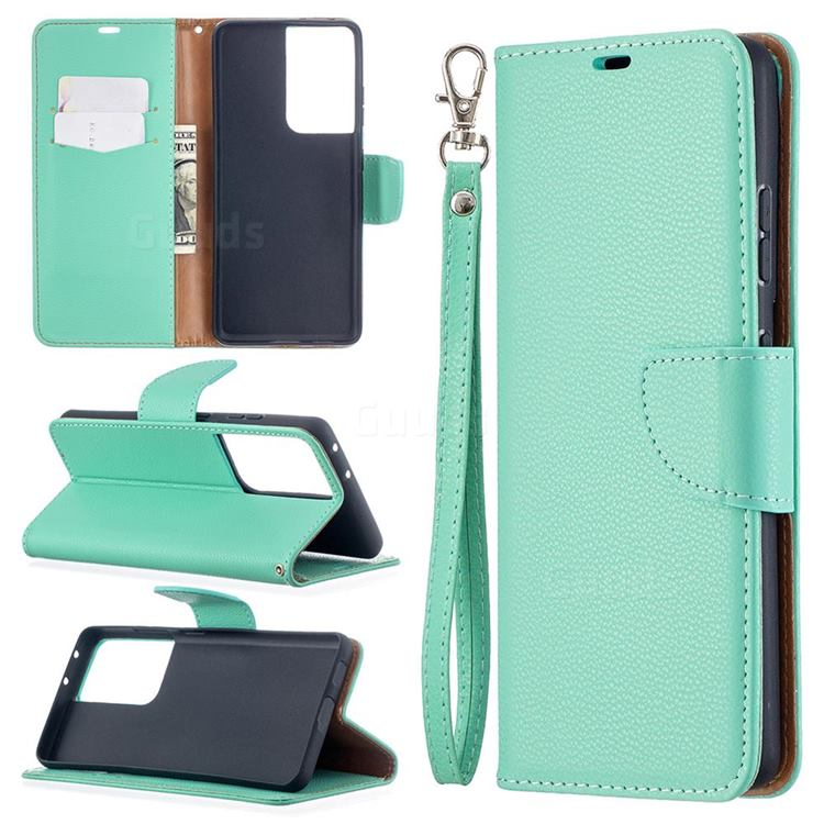 Classic Luxury Litchi Leather Phone Wallet Case for Samsung Galaxy S21 Ultra / S30 Ultra - Green