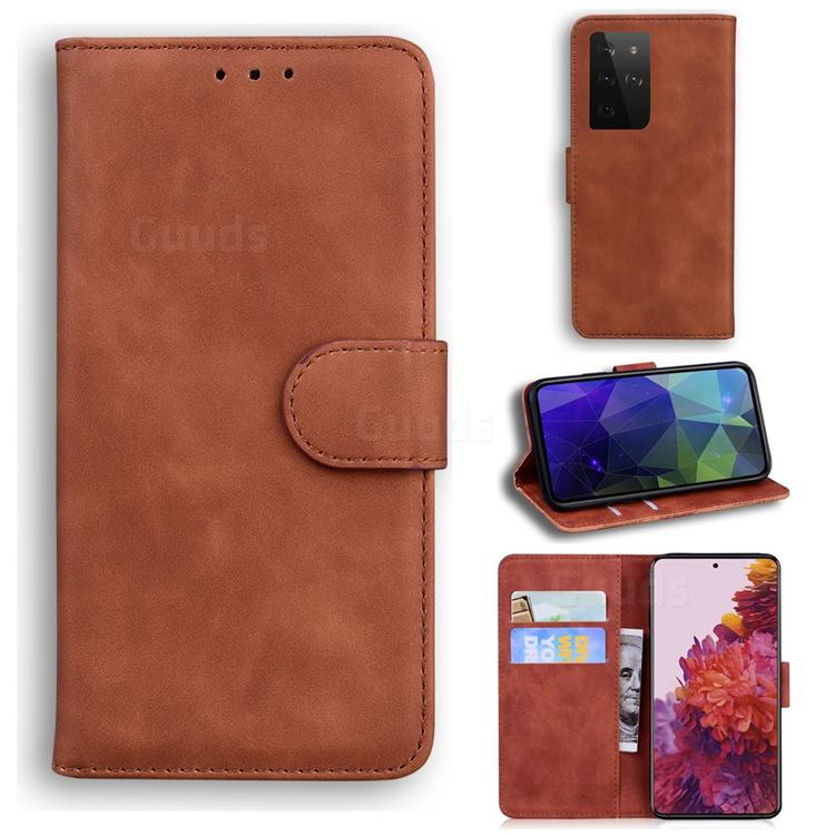 Retro Classic Skin Feel Leather Wallet Phone Case for Samsung Galaxy S21 Ultra / S30 Ultra - Brown