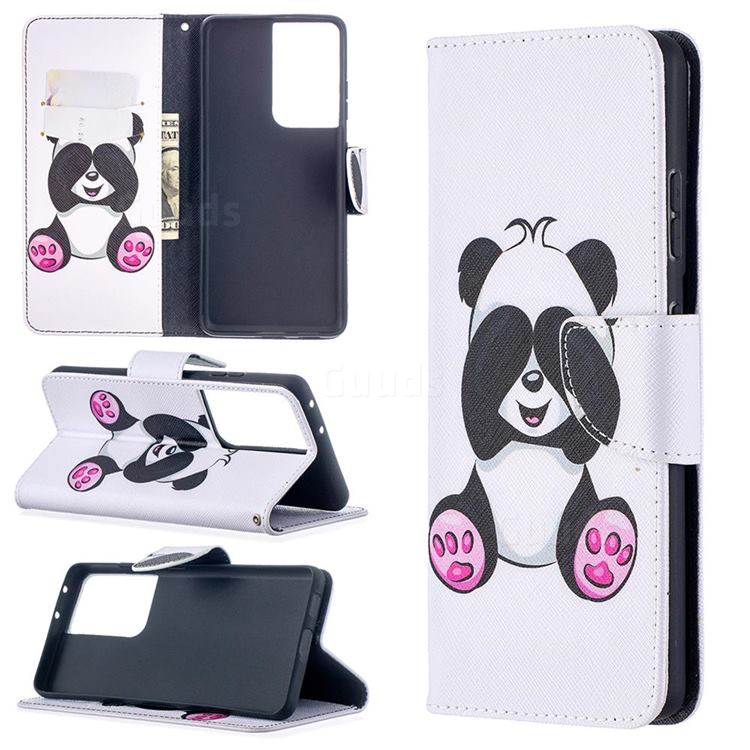 Lovely Panda Leather Wallet Case for Samsung Galaxy S21 Ultra / S30 Ultra