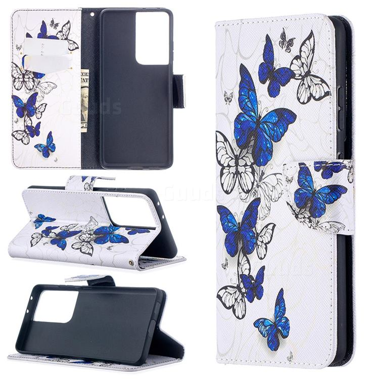 Flying Butterflies Leather Wallet Case for Samsung Galaxy S21 Ultra / S30 Ultra