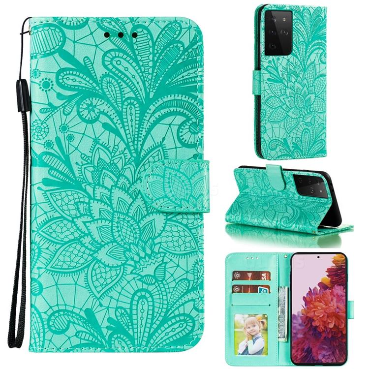 Intricate Embossing Lace Jasmine Flower Leather Wallet Case for Samsung Galaxy S21 Ultra / S30 Ultra - Green