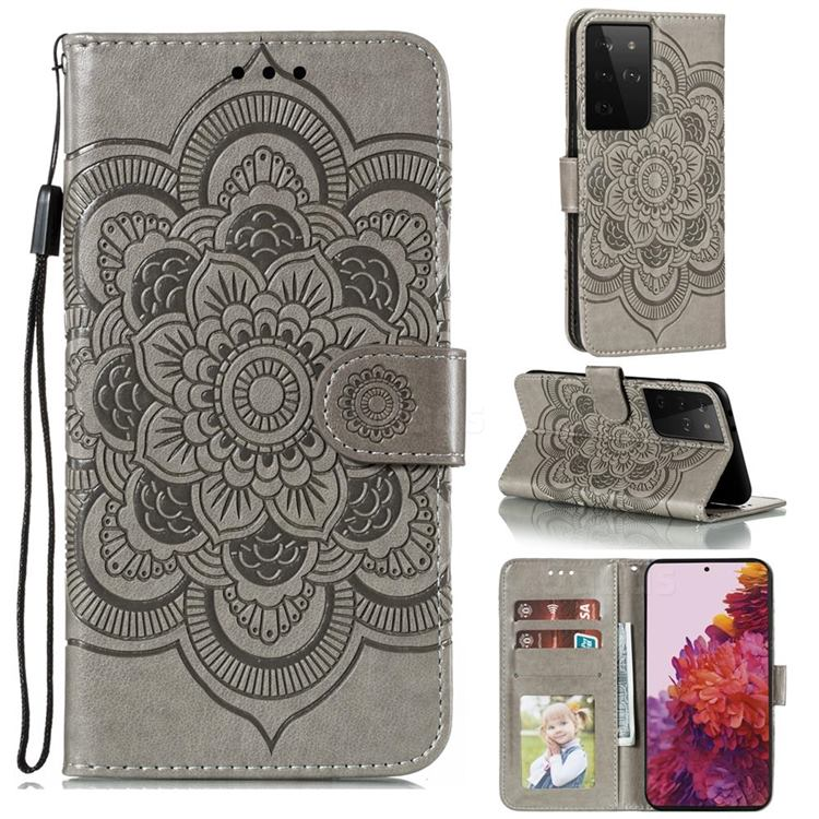 Intricate Embossing Datura Solar Leather Wallet Case for Samsung Galaxy S21 Ultra / S30 Ultra - Gray