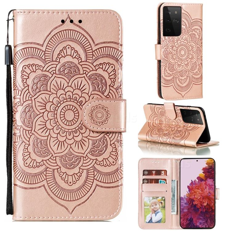 Intricate Embossing Datura Solar Leather Wallet Case for Samsung Galaxy S21 Ultra / S30 Ultra - Rose Gold