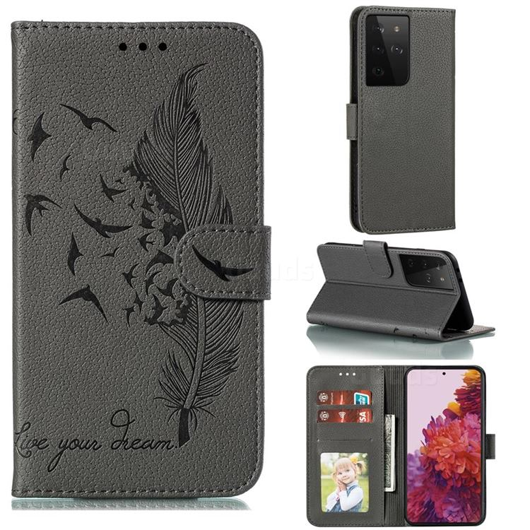 Intricate Embossing Lychee Feather Bird Leather Wallet Case for Samsung Galaxy S21 Ultra / S30 Ultra - Gray