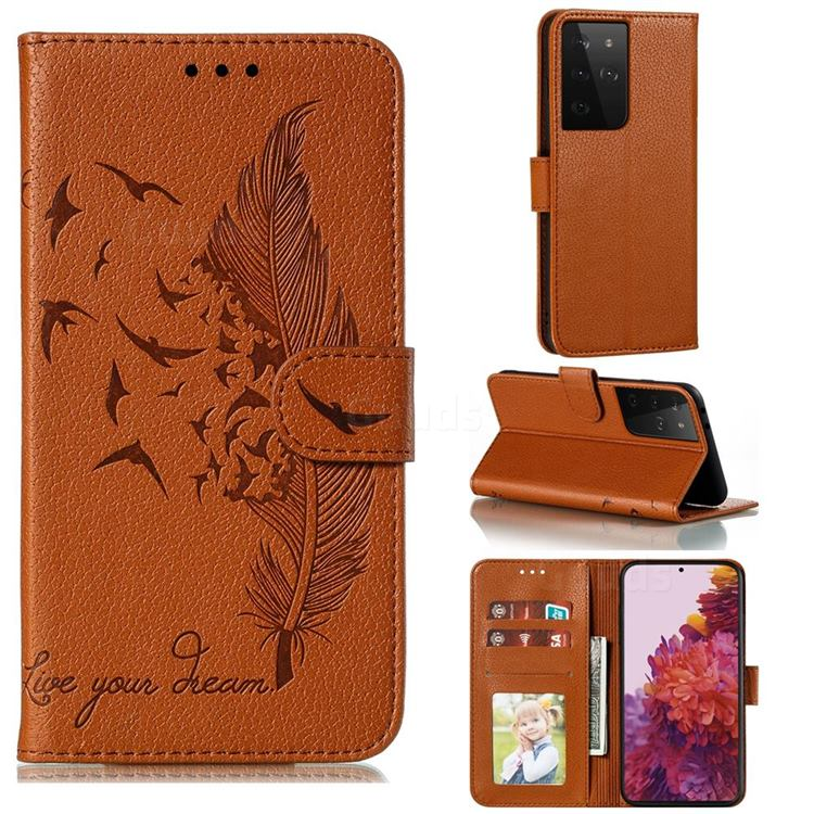 Intricate Embossing Lychee Feather Bird Leather Wallet Case for Samsung Galaxy S21 Ultra / S30 Ultra - Brown