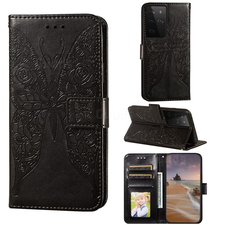 Intricate Embossing Rose Flower Butterfly Leather Wallet Case for Samsung Galaxy S21 Ultra / S30 Ultra - Black