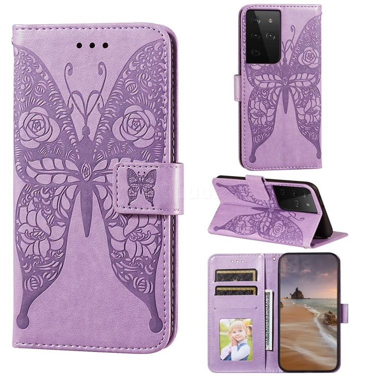 Intricate Embossing Rose Flower Butterfly Leather Wallet Case for Samsung Galaxy S21 Ultra / S30 Ultra - Purple