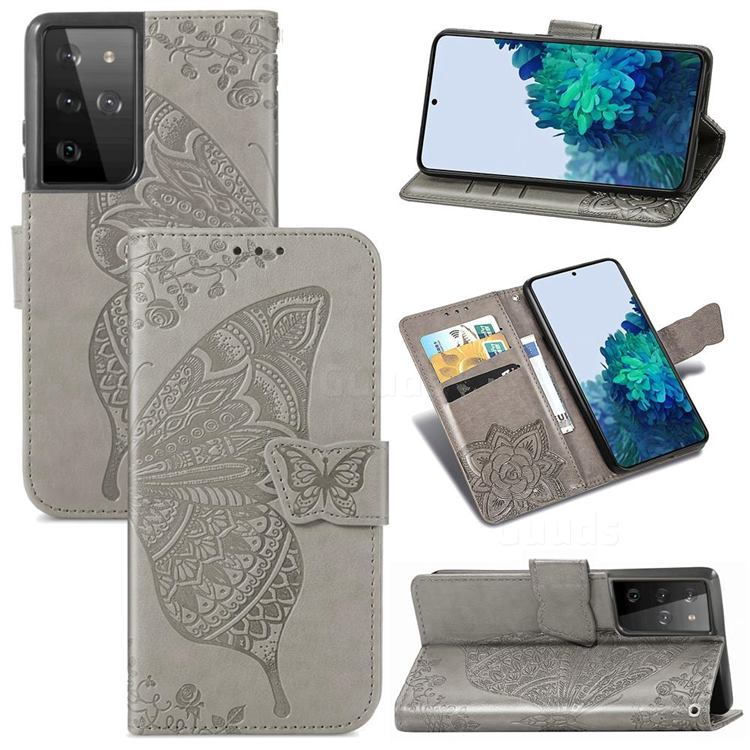 Embossing Mandala Flower Butterfly Leather Wallet Case for Samsung Galaxy S21 Ultra / S30 Ultra - Gray