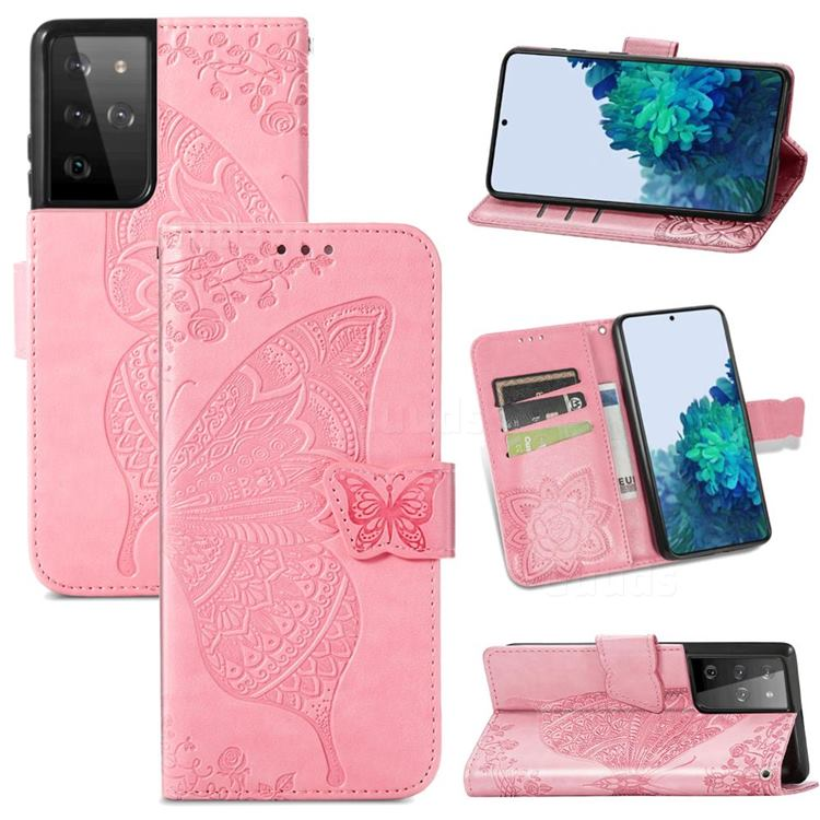 Embossing Mandala Flower Butterfly Leather Wallet Case for Samsung Galaxy S21 Ultra / S30 Ultra - Pink