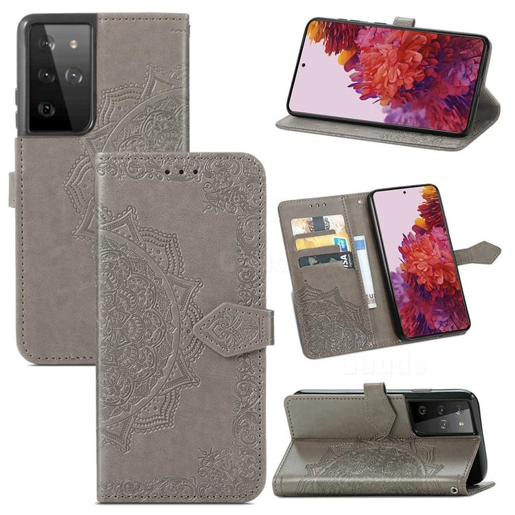 Embossing Imprint Mandala Flower Leather Wallet Case for Samsung Galaxy S21 Ultra / S30 Ultra - Gray