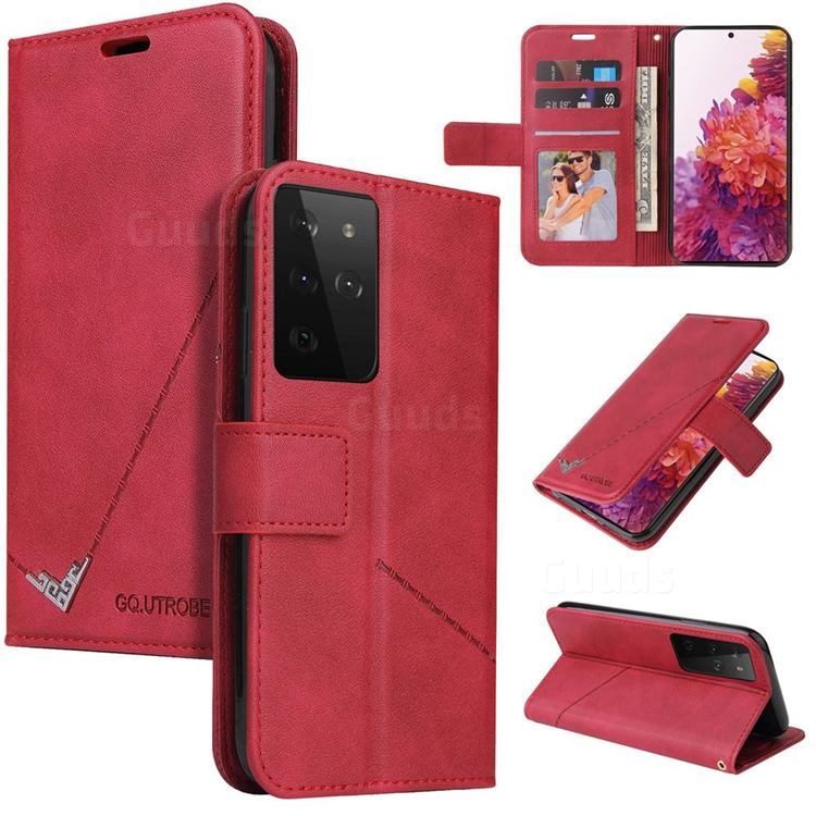 GQ.UTROBE Right Angle Silver Pendant Leather Wallet Phone Case for Samsung Galaxy S21 Ultra / S30 Ultra - Red
