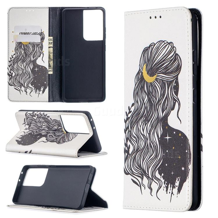 Girl with Long Hair Slim Magnetic Attraction Wallet Flip Cover for Samsung Galaxy S21 Ultra / S30 Ultra