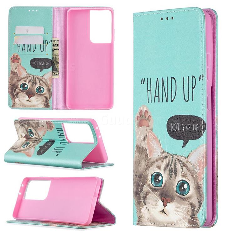 Hand Up Cat Slim Magnetic Attraction Wallet Flip Cover for Samsung Galaxy S21 Ultra / S30 Ultra